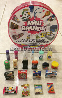 Lot 20 Zuru 5 Surprise! Mini Brands + Round Collector Case with 2 Mystery Minis