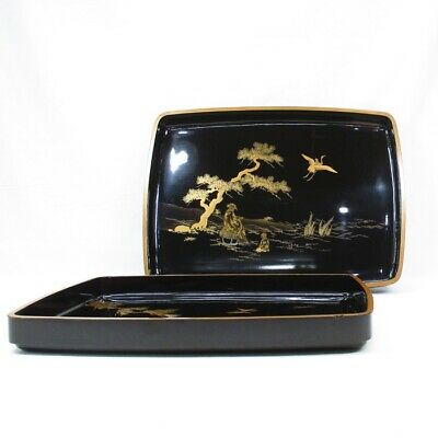 E588: Japanese pair of tray of really old lacquer ware with wonderful MAKIE