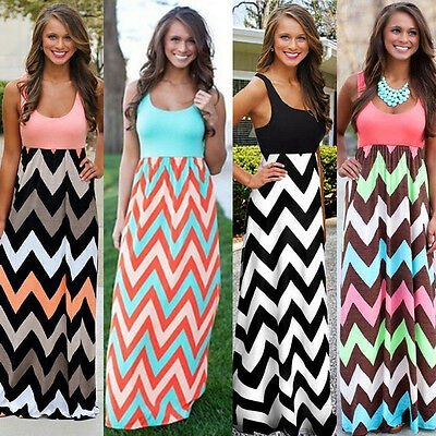 Summer Womens Boho Vest Maxi Dress Sleeveless Striped Casual Beach Long Sundress