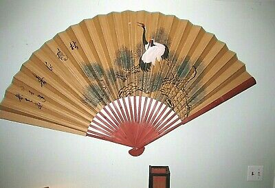 """Large Chinese Hand Painted Decorative Classic Wall Fan 72"""""""