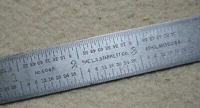 "L. S. STARRETT No. 604R  6"" Long Tempered Steel Rule With 4 Graduation Scales"