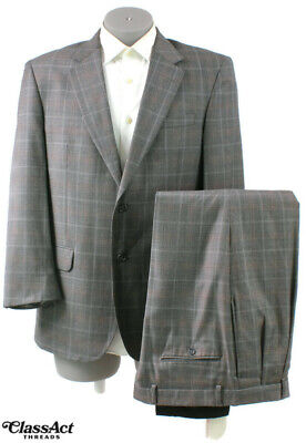 """Jos A Bank 2 Btn Grey Blue Plaid Wool Suit 42R Pleated Fronts 36"""" Waist"""