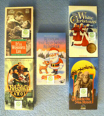 5 NEW FAMILY CHRISTMAS VHS WONDERFUL LIFE MIRACLE ON 34th STREET RUDOLPH WHITE