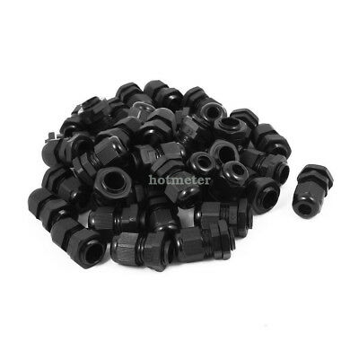 H● 40pcs PG9 Waterproof IP68 Safety Nylon Cable Gland Connector Joints  34x23mm.