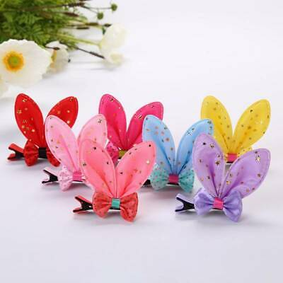 2pcs/set Baby Girl Cute Bowknot Hair Clips Handmade Rabbit Ear Hairpins Barrette