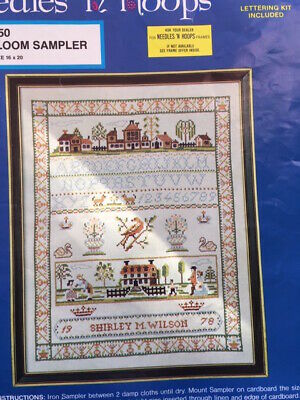 Heirloom Sampler Cross Stitch Kit Printed Panel to Finish Alphabet Houses Name