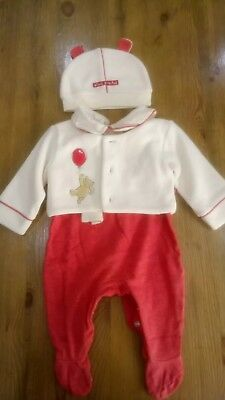 Mothercare Baby Girls 3 Piece Outfit Sleepsuit Jacket & Hat Aged 3-6 Months