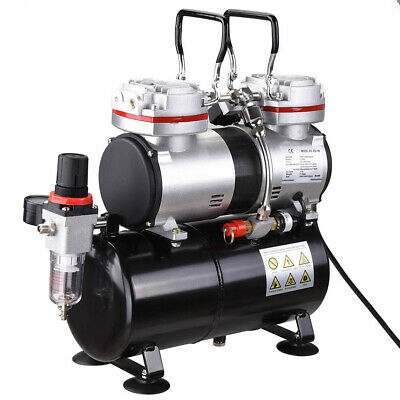 Twin Cylinder Piston Airbrush Compressor w/Tank Oil-less 1/3 HP Tattoo Hobby