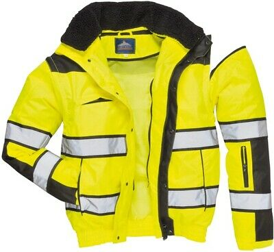 947 Yellow Hivis Bomber Jacket Lrg C466YBRL Portwest Genuine Top Quality Product