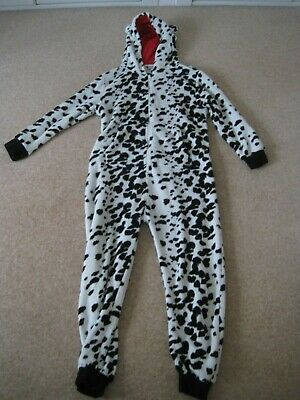 Girls hooded fleece all in one sleepsuit from Next  Dalmatian dog age 10-11