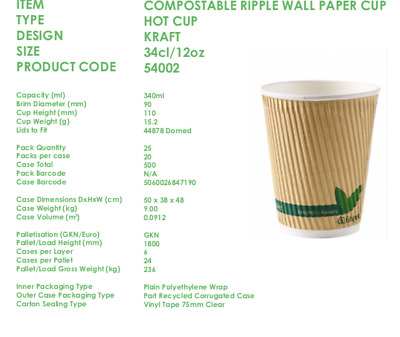 * 100 x 12oz Biodegradable/Compostable Kraft Ripple Cups only No LIDS