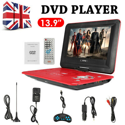 """13.9"""" Portable DVD Player Rechargeable 270° Swivel Screen Gamepad SD USB UK"""