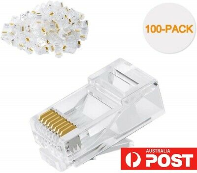 100-PACK RJ45 Cat6/Cat5e  Connector, UTP Network Plug for Solid Wire