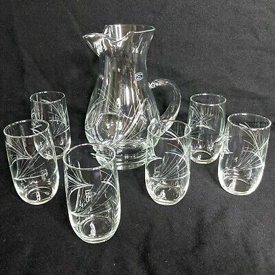 Vintage Mountaineer Glass Hand Cut Glass Design Drink Pitcher And 6 Glass Set