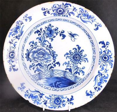 M116 Antique 18Th Century English Delft Pottery Charger