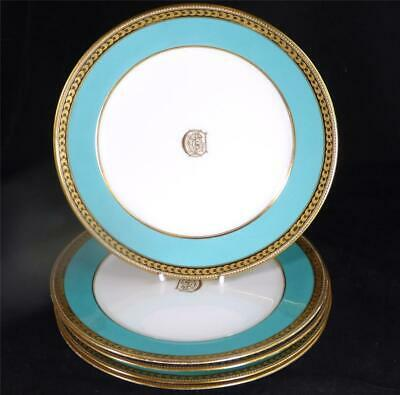 Five Antique Alfred B Pearce Ludgate London Dinner Plates Turquoise Monogram