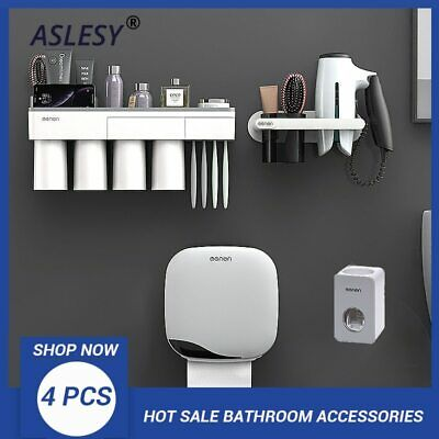 Toothbrush Holder Wall Mounted Automatic Toothpaste Dispenser Storage Rack Hair