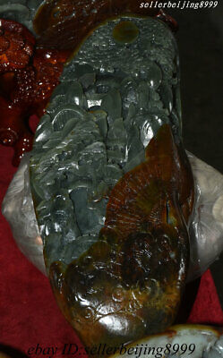 Collect Old China 100% Natural Xinjiang Hetian Jade Carving Pine Mountain Statue