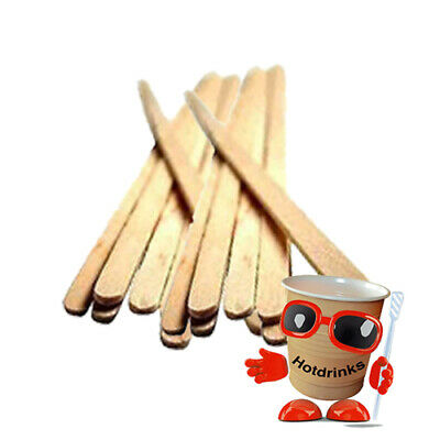 """Wooden Stirrers, Sticks, Spoons for Stirring - 110mm/4.25"""" Long [Bag of 1,000]"""