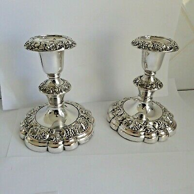 Vintage Silver Plated Candlesticks Removable Sconces 5.25 In Cast Grapes Leaves
