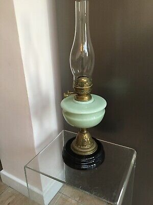 Victorian Vaseline Glass Oil Lamp English
