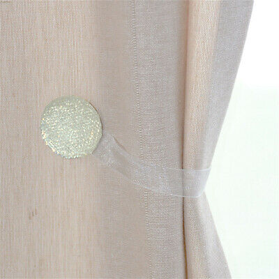 Off White/Ivory 2 Pc Crystal Magnetic Window Curtain Drapery Tie Back Clips