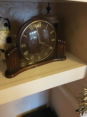 VINTAGE 1950s WOODEN METAMEC MANTLE CLOCK WORKING ORDER