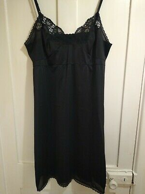 VTG Charnos Black Nylon Full Slip Size UK22