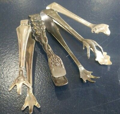 ANTIQUE VINTAGE MIXED sugar mini tongs claw foot SILVER PLATE FLATWARE LOT 4