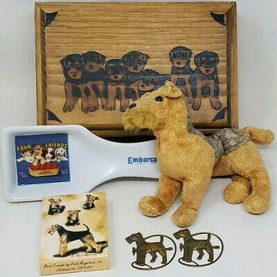 6pc Lot Vintage to Now Airedale Terrier Collectibles Handmade Wood Box