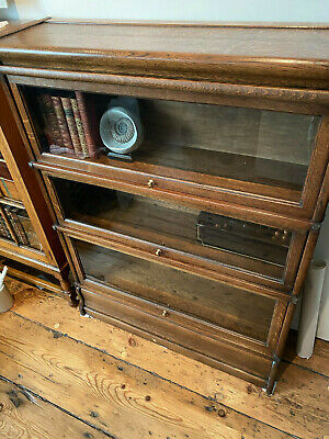 Antique Oak Globe Wernicke Barristers Bookcase Library Display  Cabinet Vintage