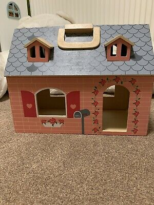 Small Wooden Opening Dolls House And Some Furniture