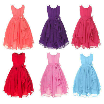 New Flower Dress Evening 2-12y Formal Girls Party Wedding Bridesmaid Gown Age