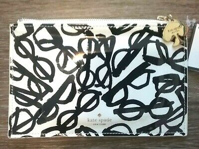 kate spade New York Literary Glasses Pencil Pouch Cosmetic BAG Cream and Black