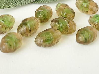 Vintage German Glass Beads ~ Golden Green Bee Hive Givre Unique Jewelry Making