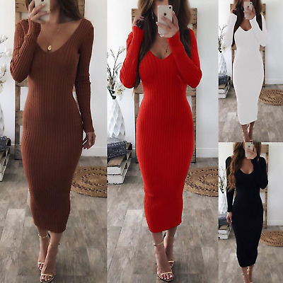 Women Sexy V Neck Bodycon Party Cocktail Dress Stretch Ribbed Knit Midi Dresses
