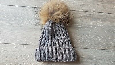 Grey Knitted Fur Pom Pom Bobble Hat Beanie Cost £15