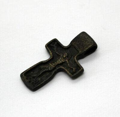 Russian Old Bronze Orthodox Small Cross  17-18AD