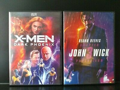 X-Men Dark Phoenix & John Wick Chapter 3 Parabellum DVD's  pre-owned excellent
