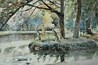Antique Early 20th Century Watercolour Of A Nude Woman Bathing, Harry Fricker