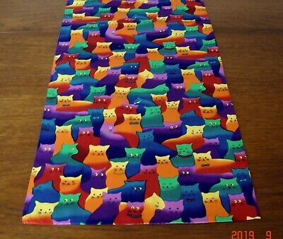 """New Cute Crazy Cats Design Cotton Fabric Lined Table Runner ~ 64"""" x 13.5"""""""