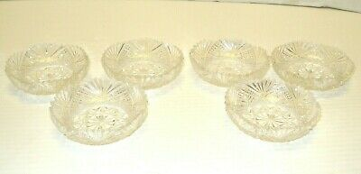 Antique AMERICAN BRILLIANT CUT GLASS SALTS  set of 6 3 in.