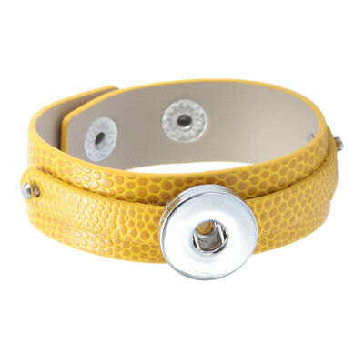Fashion Yellow Leather Snap Charm Bracelet Fit 18mm Snap Button Snap Jewelry