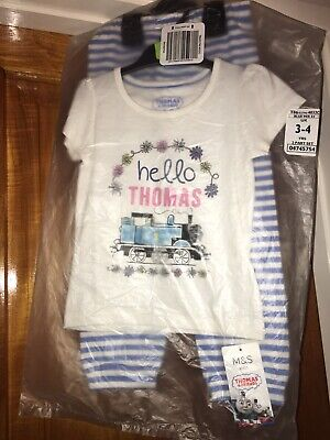Thomas The Tank Engine Girls Age 3-4 Pyjamas Bnwt M&S Marks And Spencers Blue