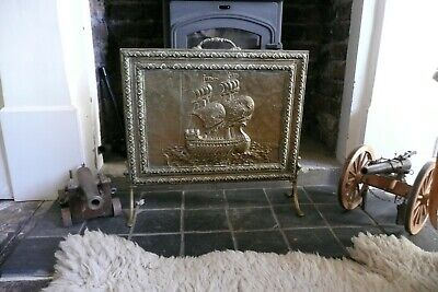 Vintage Embossed Brass & Wood Fire Guard Solid Screen Sailing Ship Scene Vintage