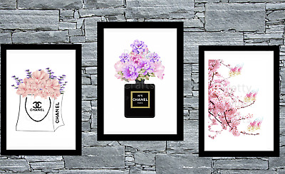 Set of 3 Coco Chanel Cherry Blossom Wall Art Prints A4 Room Bedroom Poster Black