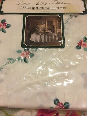 LAURA ASHLEY VINTAGE Large Round COTTAGE STYLE TABLECLOTH, New 223cm Diameter