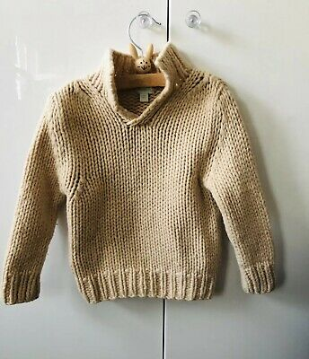 Monsoon Age 3-4 Lambswool Cream Beige Jumper Unisex Excellent Condition