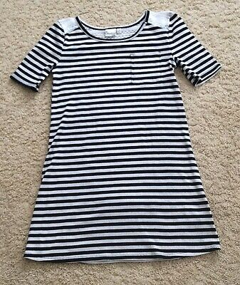 Mudd Girls Youth Black & White Stripe Dress Size 8 Pre-owned