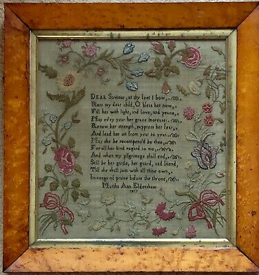 Antique Georgian Verse and Floral border Sampler.Antique Maple frame.Eldershaw.